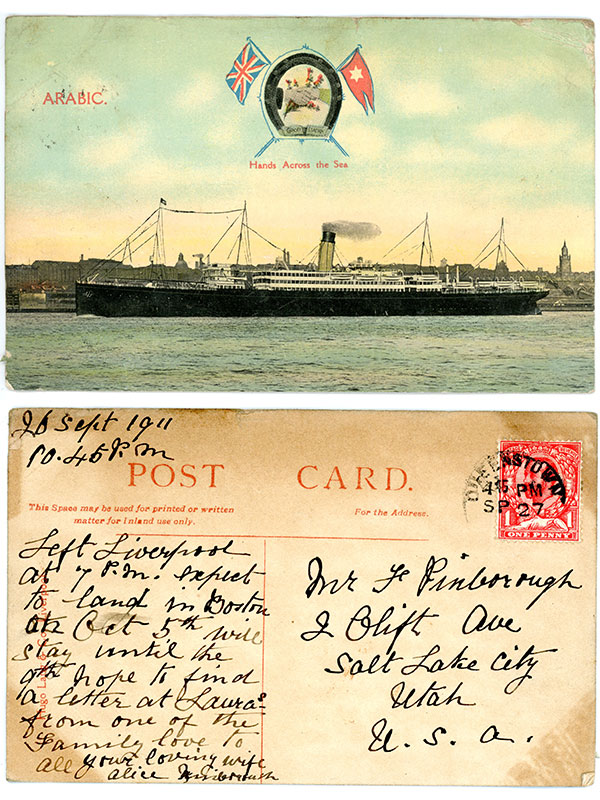 1911 September 26 Liverpool to New York S.S. Arabic