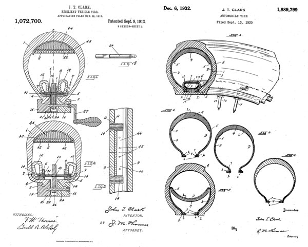 From John T. Clark patent filings found through Google Patents. Above diagrams from 1913 and 1930.