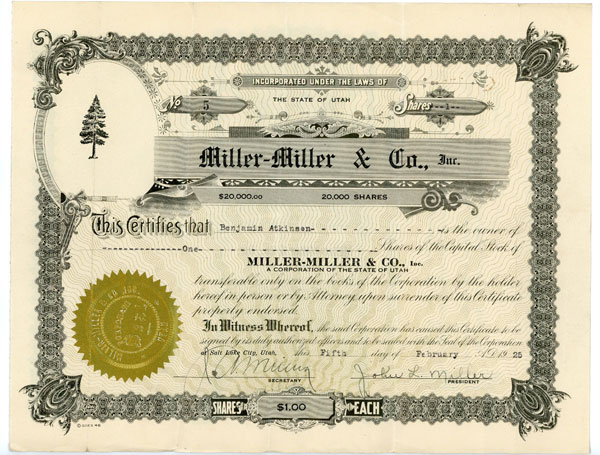 One $1 share of Miller-Miller & Co., Inc. A Corporation of the State of Utah.