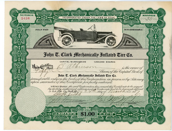 50 shares John T. Clark Mechanically Inflated Tire Co. March 24, 1917
