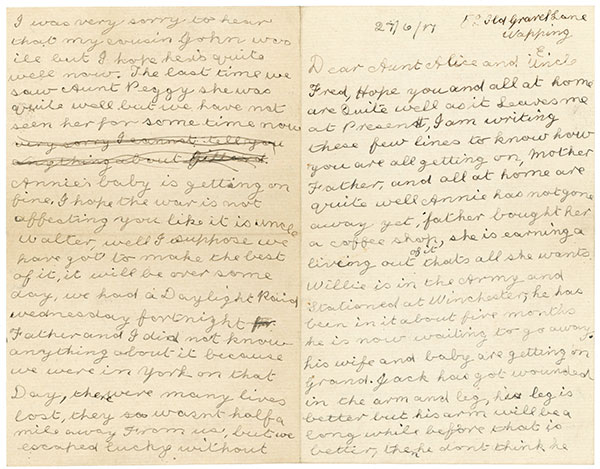 Letter from Charles Percival Vince 1917 - page 1 & 3