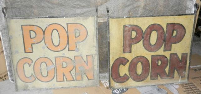 Vintage Popcorn Signs circa 1940s.