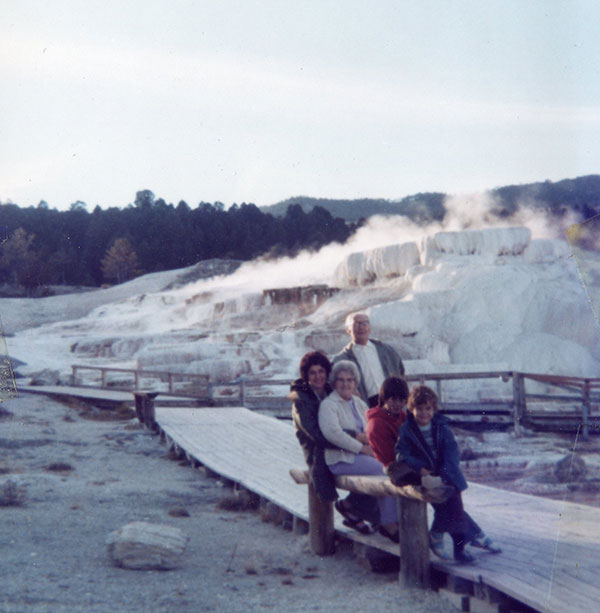 1977 Yellowstone Park. From front to back: My brother, me, Tilly, Mom, Tilly's 2nd husband Henry.