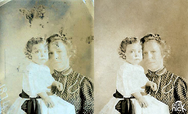 Mary Draisey Atkinson and child. Photo restoration by Pick Nick Photo Restoration Services