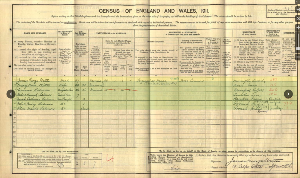 1911 Census Witter Family