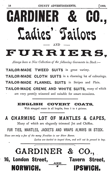 Ad from 1900 Kelly's Directory of Gardiner & Co