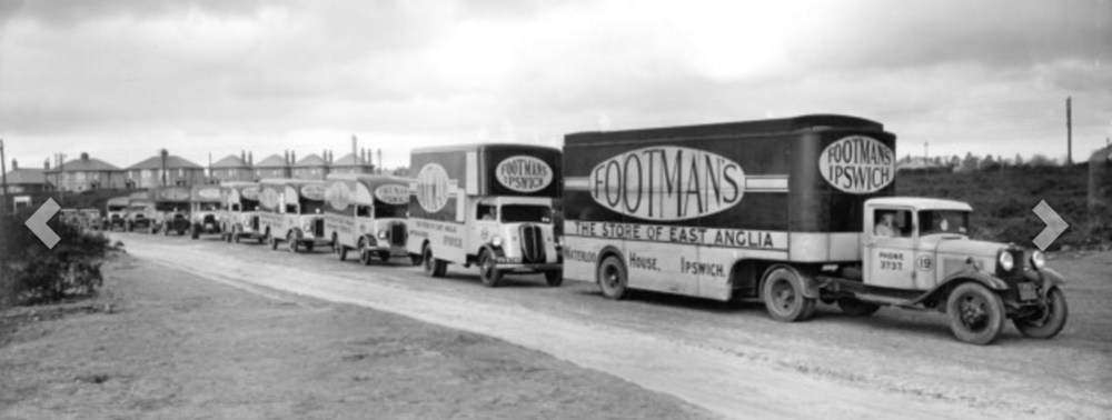 Delivery vehicles from Footman's. Source: Ipswich Star