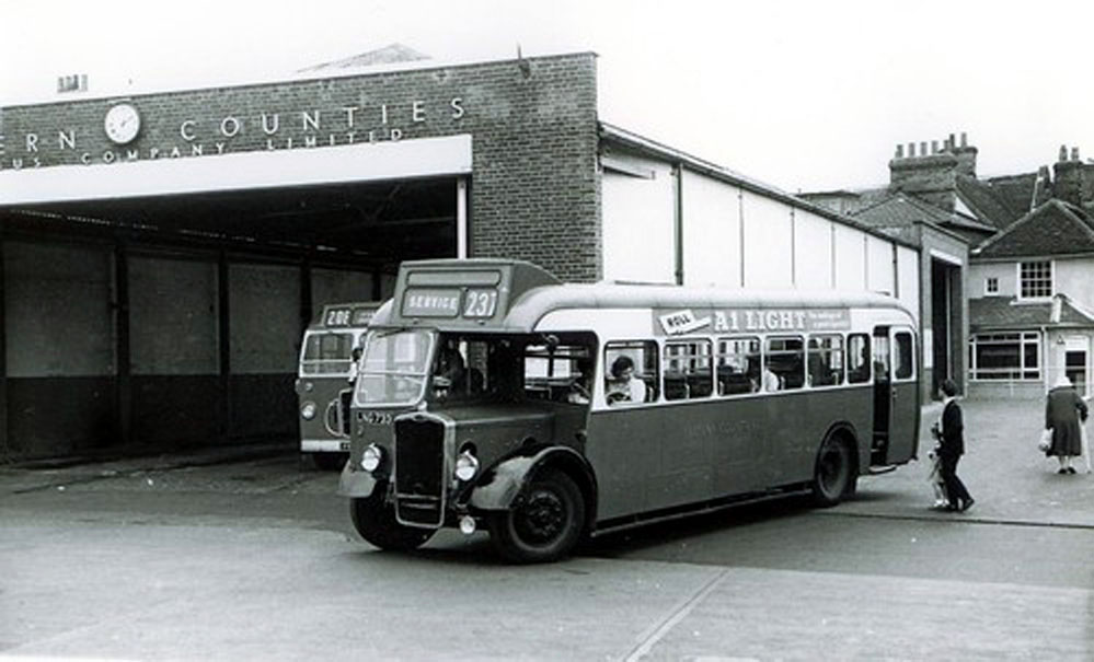 Image from Eastern Counties Omnibus Co Ltd. Bus station in Ipswich housed in the former cattle market in November 1933.