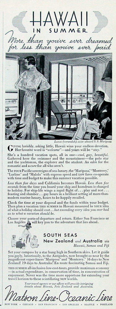 Great old ad for the S.S. Mariposa circa 1930s.