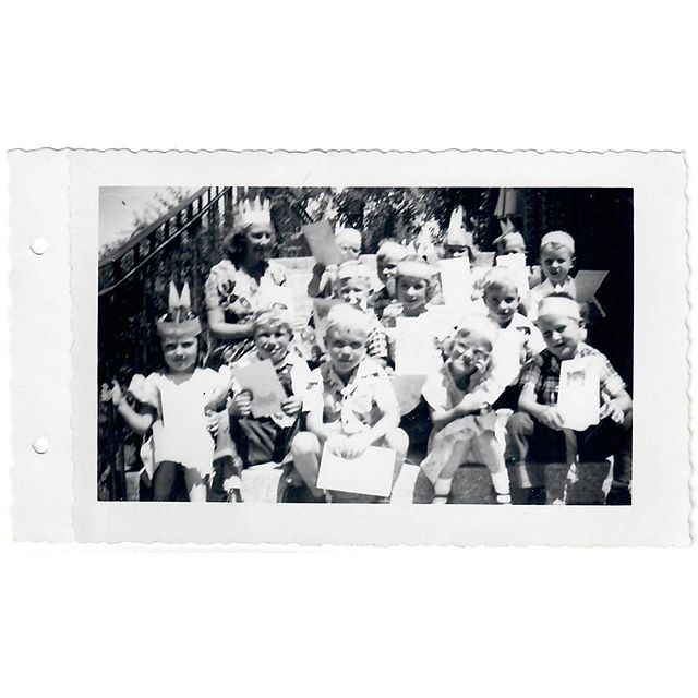 "Me: What can you tell me about these kids?⠀ Dad: Never seen them before. ⠀ Me: There is a note stuck to this, ""Group 1 - 5 Year Old - Summer 1951 - Ethel Upwall Teacher "" Ring any bells? ⠀ Dad: Looks like they are wearing Indian hats with two feathers. ⠀ Me: It does. ⠀ Dad: I was what, 21 when this was taken? So I'm not in there. Mom wasn't teaching school anymore so it's not her students. ⠀ Me: Maybe it was something to do with church and Primary students? Wasn't she active in Primary then? ⠀ Dad. Yes. Maybe. Ethel Upwall, I can see her. ⠀ Me: You remember her? ⠀ Dad: No, she's the only adult in the photo. ⠀ .⠀ Salt Lake City, Utah 1951⠀ .⠀ .⠀ .⠀ .⠀ .⠀ .⠀ ⠀ #Familyhistory #Rootstech #oldphoto #genealogy #ancestry #1950s #saltlakecity #vintagephoto #familysearch #lds #instaphoto #blackandwhitephotography #foundphoto #caregiver #utahhistory #utah #findmypast #memoirs #memories #familystories #sharingthepast #vintagefashion #caregiving #stories #love #vintage #fashion #shortstories #interview #wilfordward"