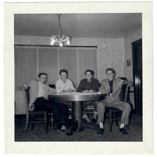 Dad: Maynard Viot, he's the guy on the end on the right, and this guy (on the far left), this is Lenny Hesterman, and the guy in the white shirt is Mickey, but I don't remember his last name. And…who is this guy in the black shirt? I'm stumped. That's the font room of the house I grew up in, that chandelier is at Judy's. And that's our table, and our television would have been behind Maynard but we didn't have a television then. ⠀ Me: What year did you get a television? ⠀ Dad: I don't know.⠀ Me: What can you tell me about Maynard Viot?⠀ Dad: Oh, he's another LDS boy I grew up with in the Wilford Ward, lived down the street a few doors. And Lenny, I grew up with him in the church. His mother was a little round dutch lady who played the organ and bounced up and down when she played. ⠀ Me: What kind of music did she play?⠀ Dad: Church music and any other kind, she played the organ in the ward.⠀ Me: Did they go to Granite High with you?⠀ Dad: Yes. Maynard was a lifetime friend. Lenny, he moved into the ward, I don't know when he moved into the ward, anyway he wasn't a lifetime resident but Maynard was. ⠀ Me: Did you go to Maynard's wedding? ⠀ Dad: Maynard & Sid's wedding? His wife was Sid, hmm, I can't remember I could have but I don't remember.⠀ Me: When did he pass away?⠀ Dad: I don't remember that either, I think we went to college together too and I can't remember much about Lenny any more he had some fraternal twin brothers. Now, who is that guy in the black shirt?...⠀ .⠀ Photo taken Summer 1948.⠀ .⠀ .⠀ .⠀ #Familyhistory #Rootstech #oldphoto #genealogy #ancestry #1940s #vintagephoto #familysearch #instaphoto #blackandwhitephotography #foundphoto #caregiver #findmypast #memoirs #memories #familystories #sharingthepast #vintagefashion #caregiving #stories #shortstories #interview #alzheimers #fashion #vintage