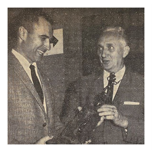 """Whose Getting What? Judging from the smiling visage of Mr. Atkinson (left), you'd think he was receiving the silverware being distributed above. But, he was merely doing the distributing himself as Dr. Harold Sweezey of First Baptist accepts a championship trophy in the recently completed Unlimited Church of Basketball League."" - Alhambra Free Press February 1963 . . . #sharingthepast #familyhistory #vintage #genealogy"