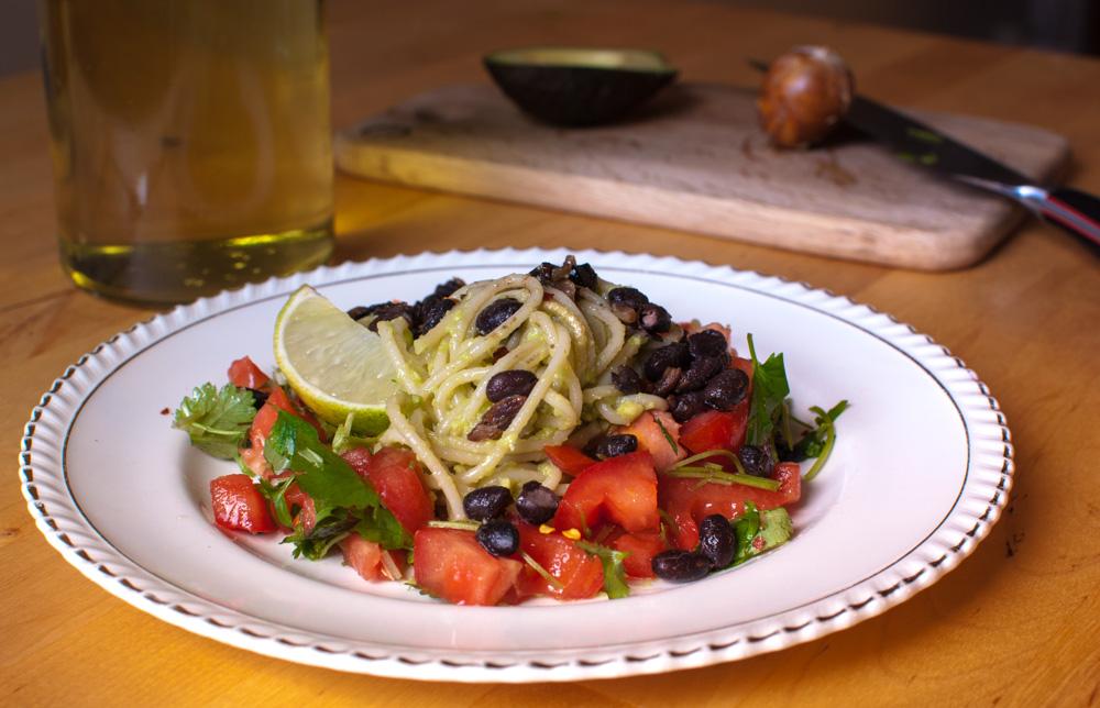guacamole-black-bean-pasta-plate
