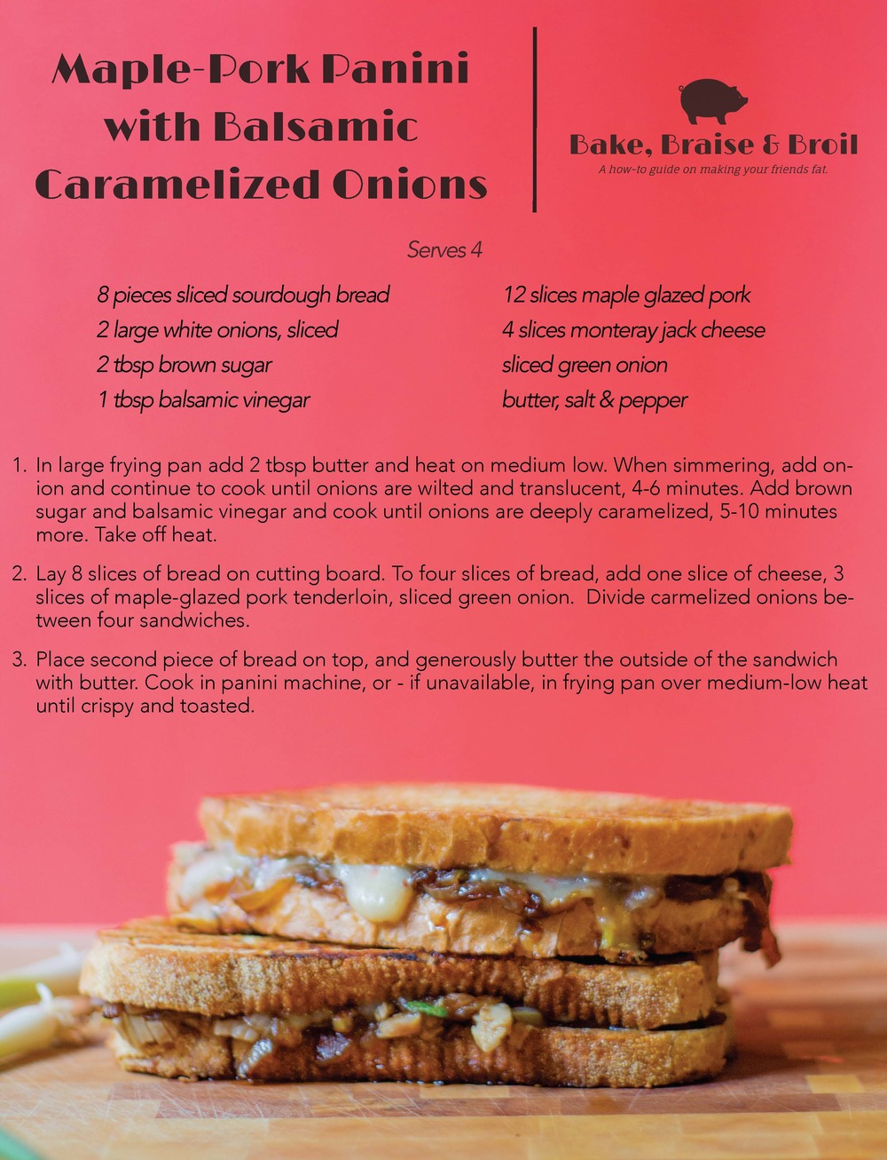 Maple Pork Panini Recipe Card