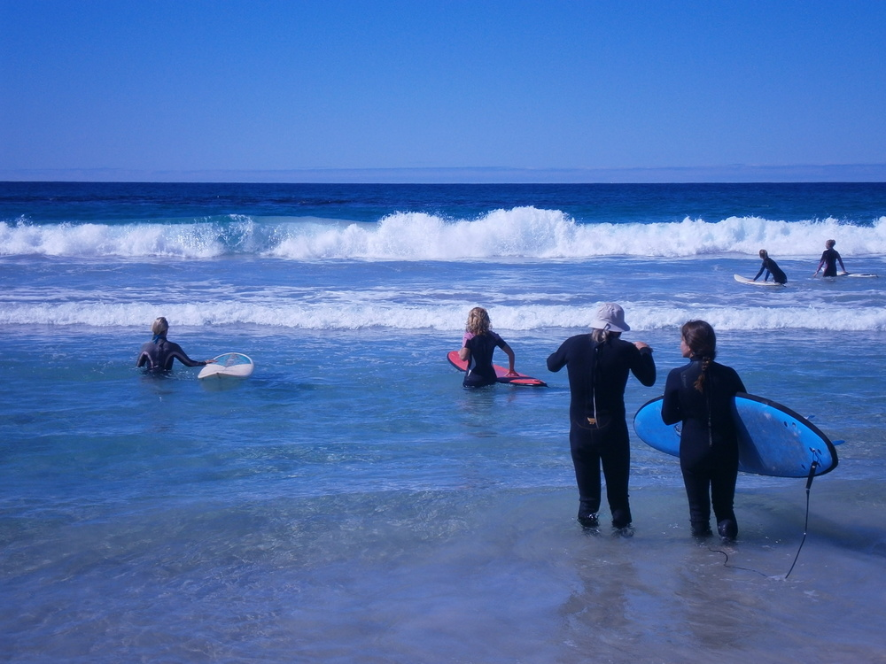 Surf Instruction at pristine Nanarup Beach on recent Swahini Retreat 2015