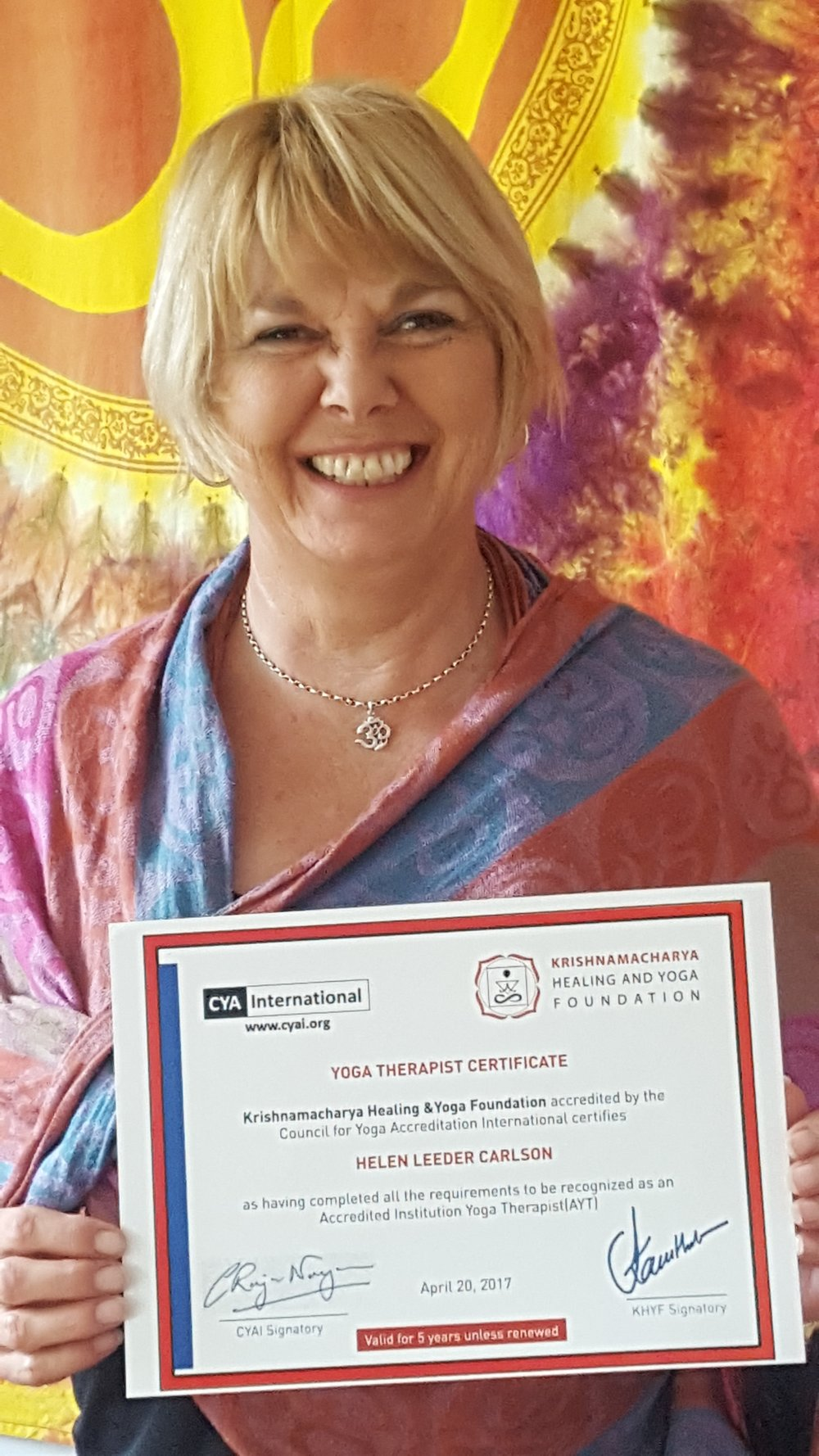 Helen with her Yoga Therapist  Certificate