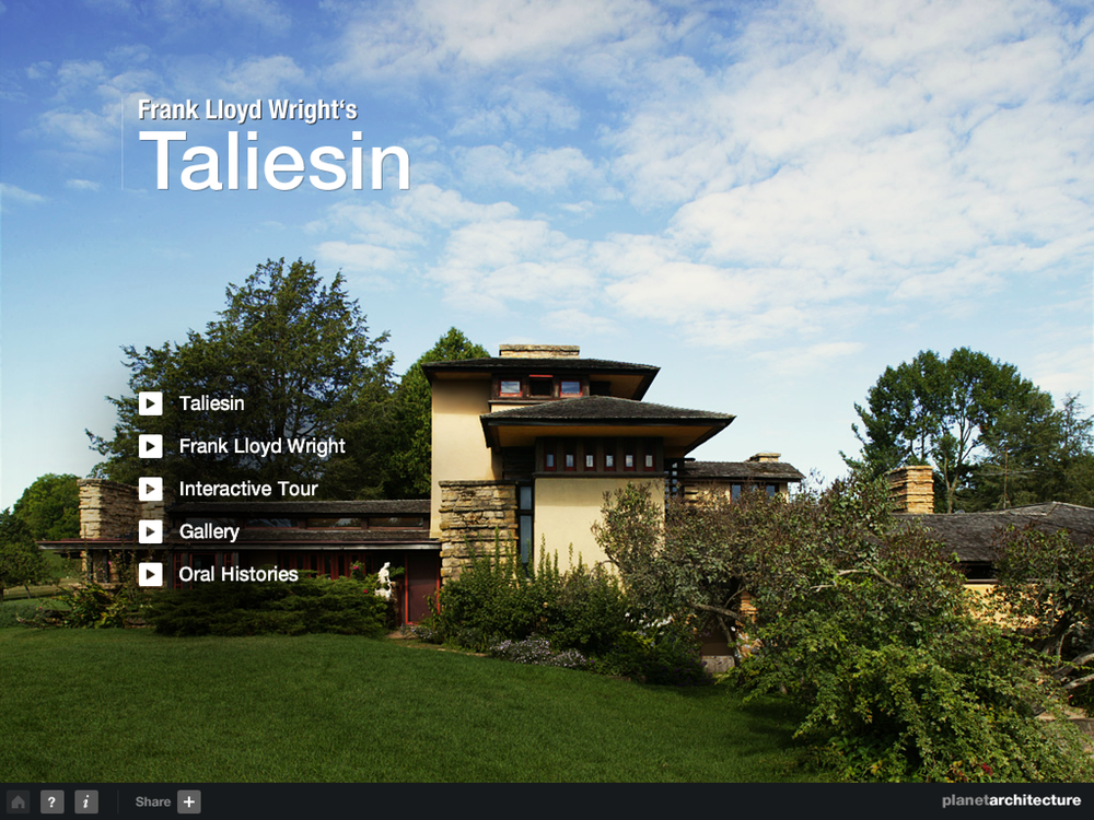 Frank Lloyd Wright's Taliesin iPad app