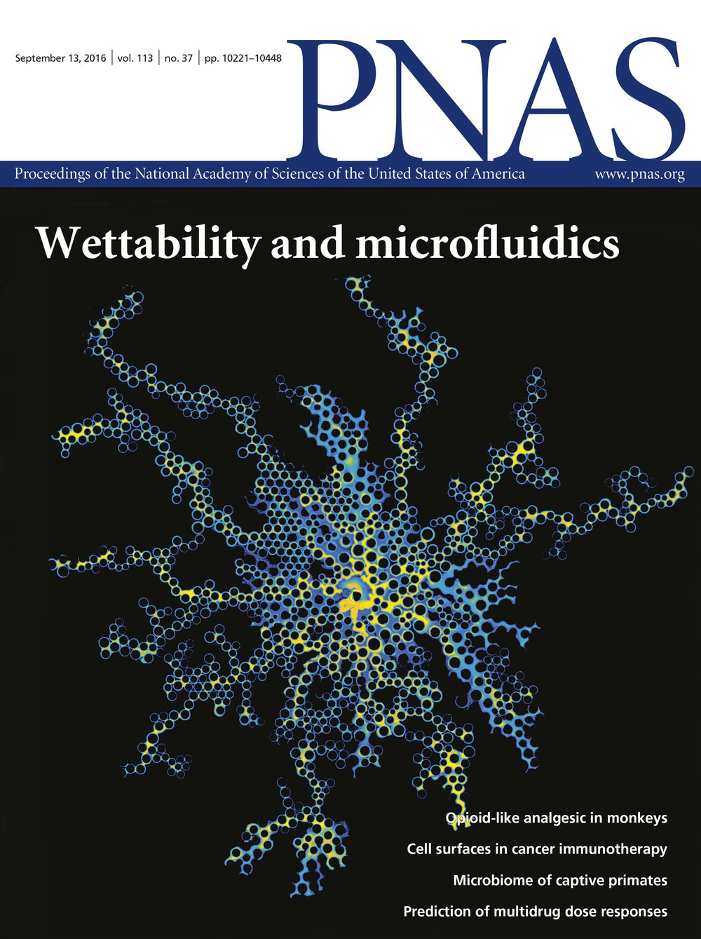 This work was featured as the cover story of PNAS's Issue 37 in 2016 .