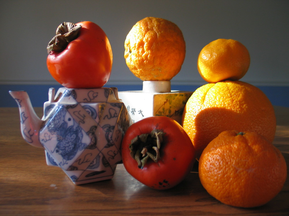 Mandarins and persimmons.