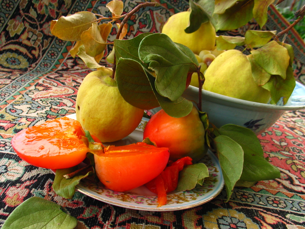 Persimmons and quince.
