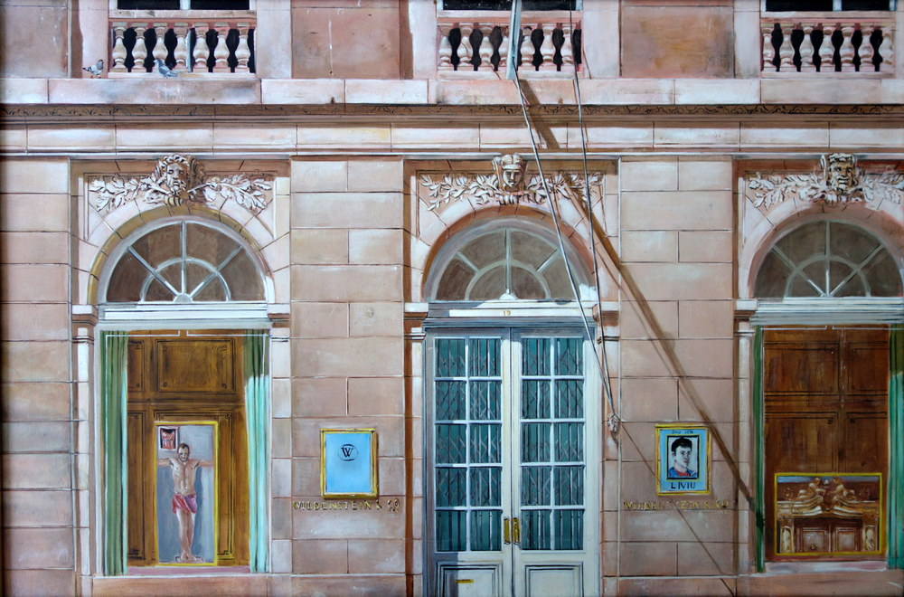 "Wildenstein & Co.   Notes: the painting shows a famous gallery in NY and in the window of the gallery I painted two of my paintings and included a self-portrait.         July 1978      Oils on Masonite, 24""x36"""