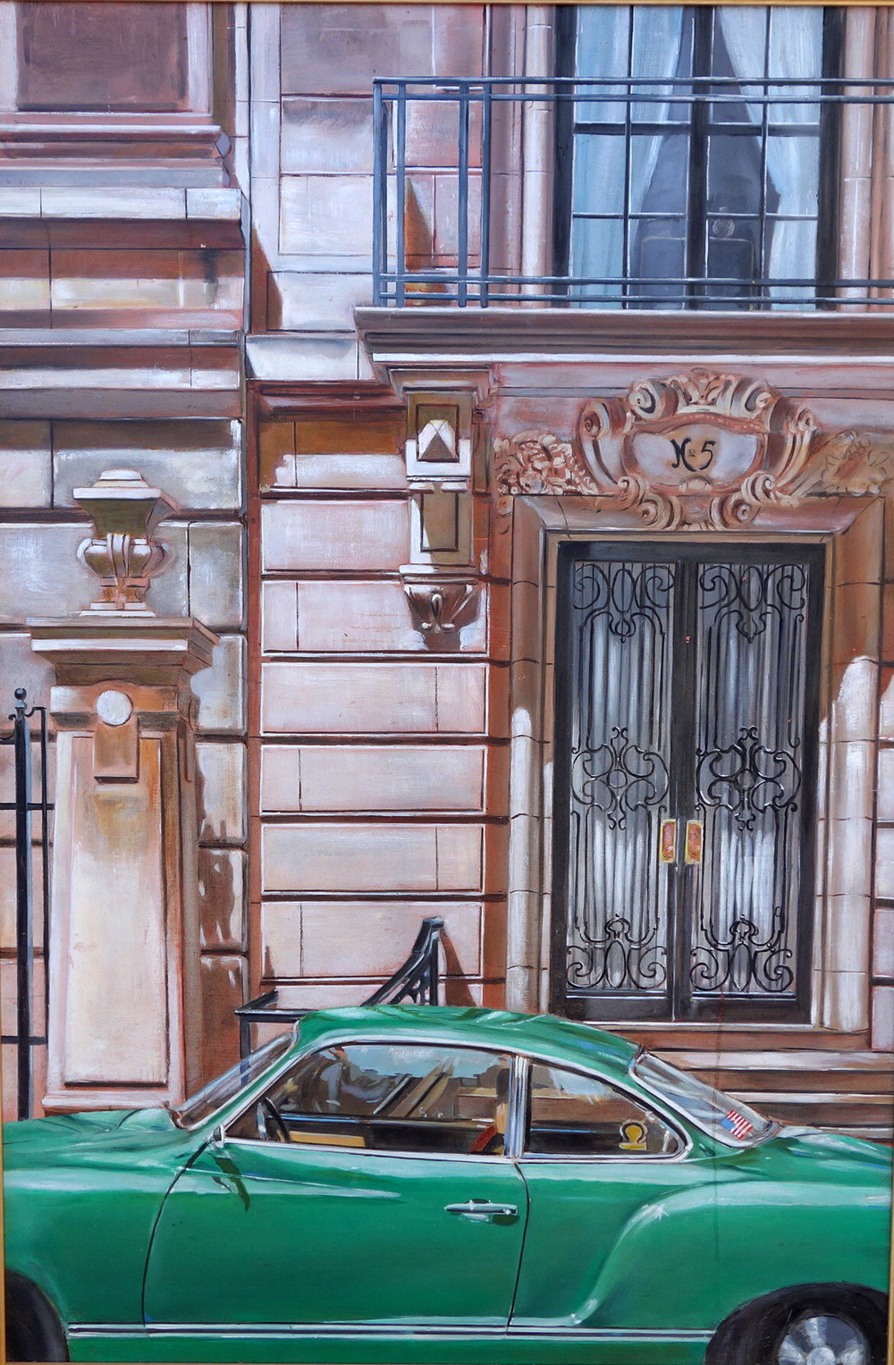 "Green VW in front of Building, around 70th and 5th.      1982      Oils on Masonite, 26"" x 36"""