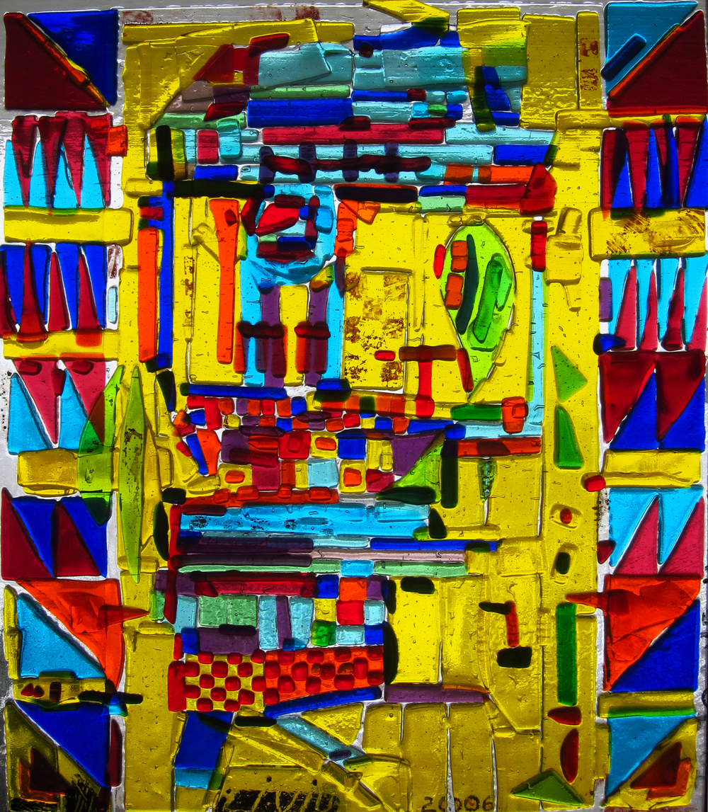 Almost purely abstract.  On the sides geometric.  2006  Fused glass