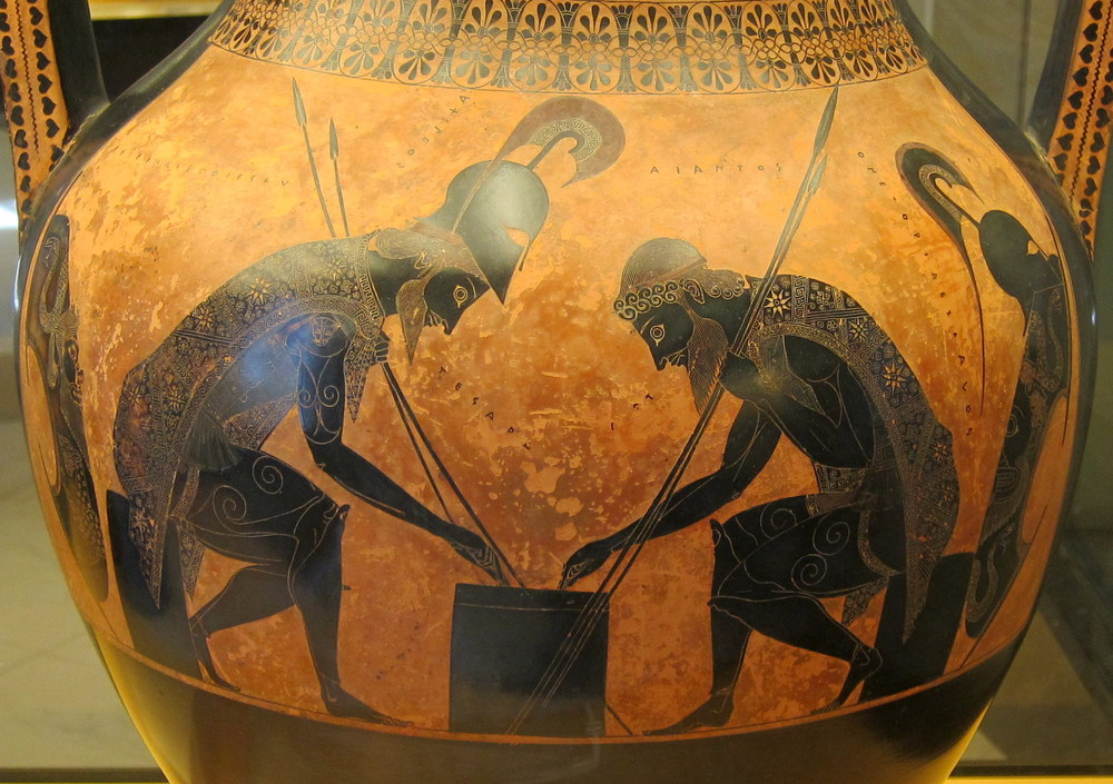 Greek vase - Achilles and Ajax playing dice.  vase by Execias, 540 BC at the Vatican Museums.