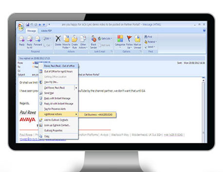 Avaya to MS Outlook, Office, IE