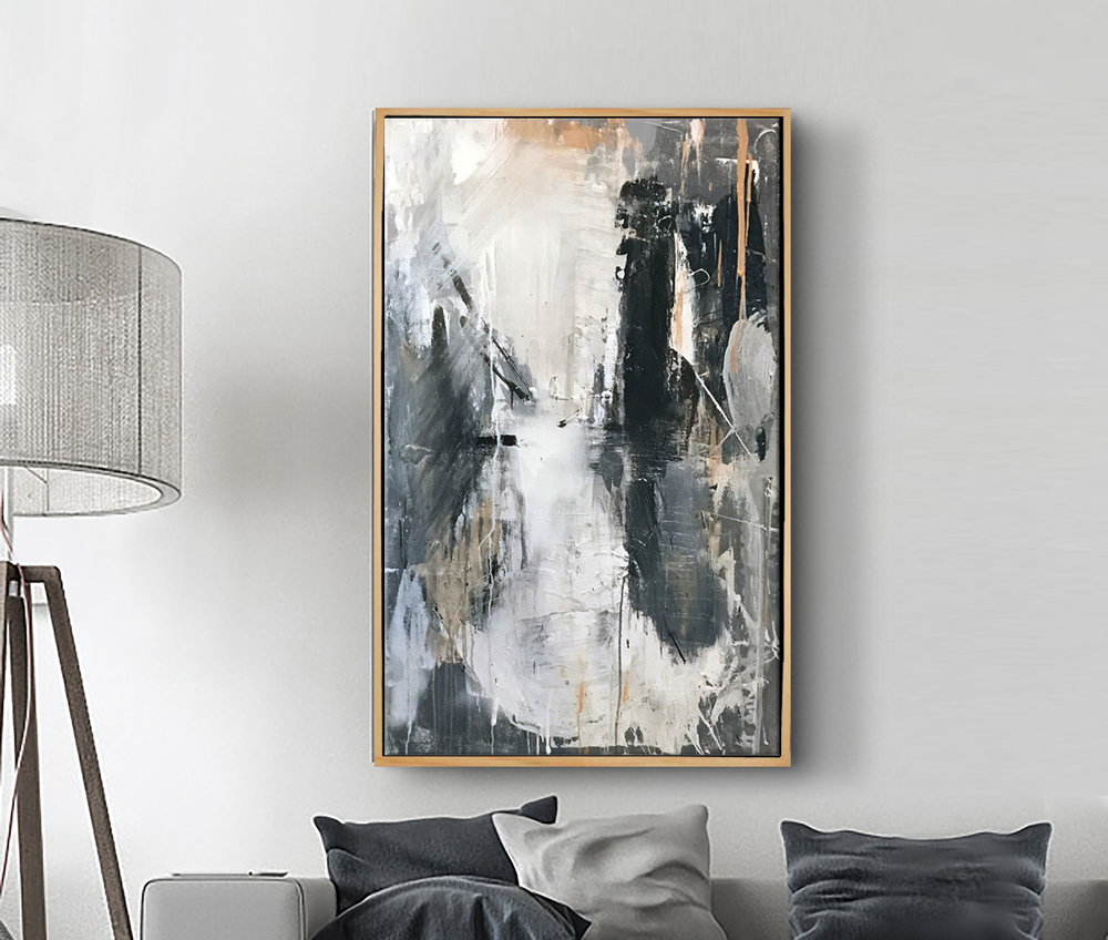 Shown here in a residence, this piece was commissioned for a retail boutique in San Francisco. Framed in polished wood, the Japanese-inspired acrylic abstract features several layers of acrylic to reveal each layer underneath.