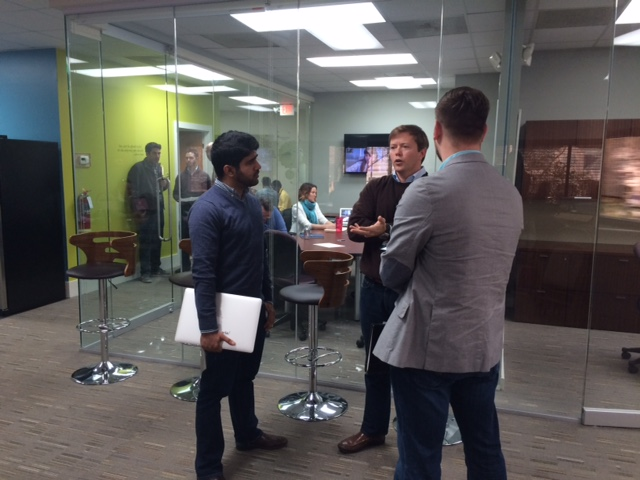 Andrew Strickland and Prashant Katwa (Teamphoria) meet with Harbor mentor Willis Cantey