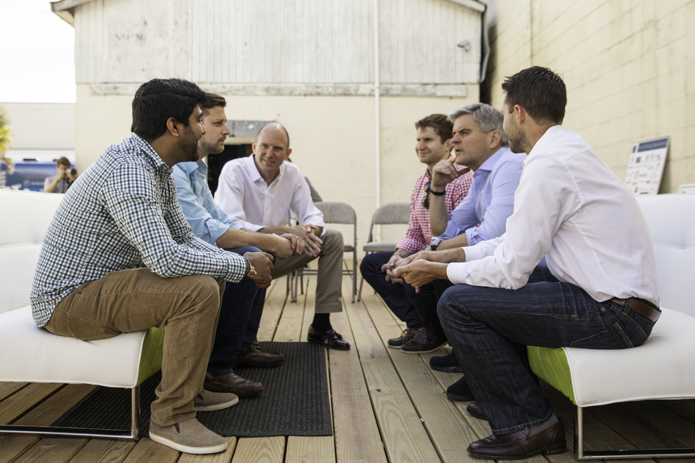 Andrew Strickland and Prashant Katwa (Teamphoria) meet with Steve Case, Co-founder of AOL
