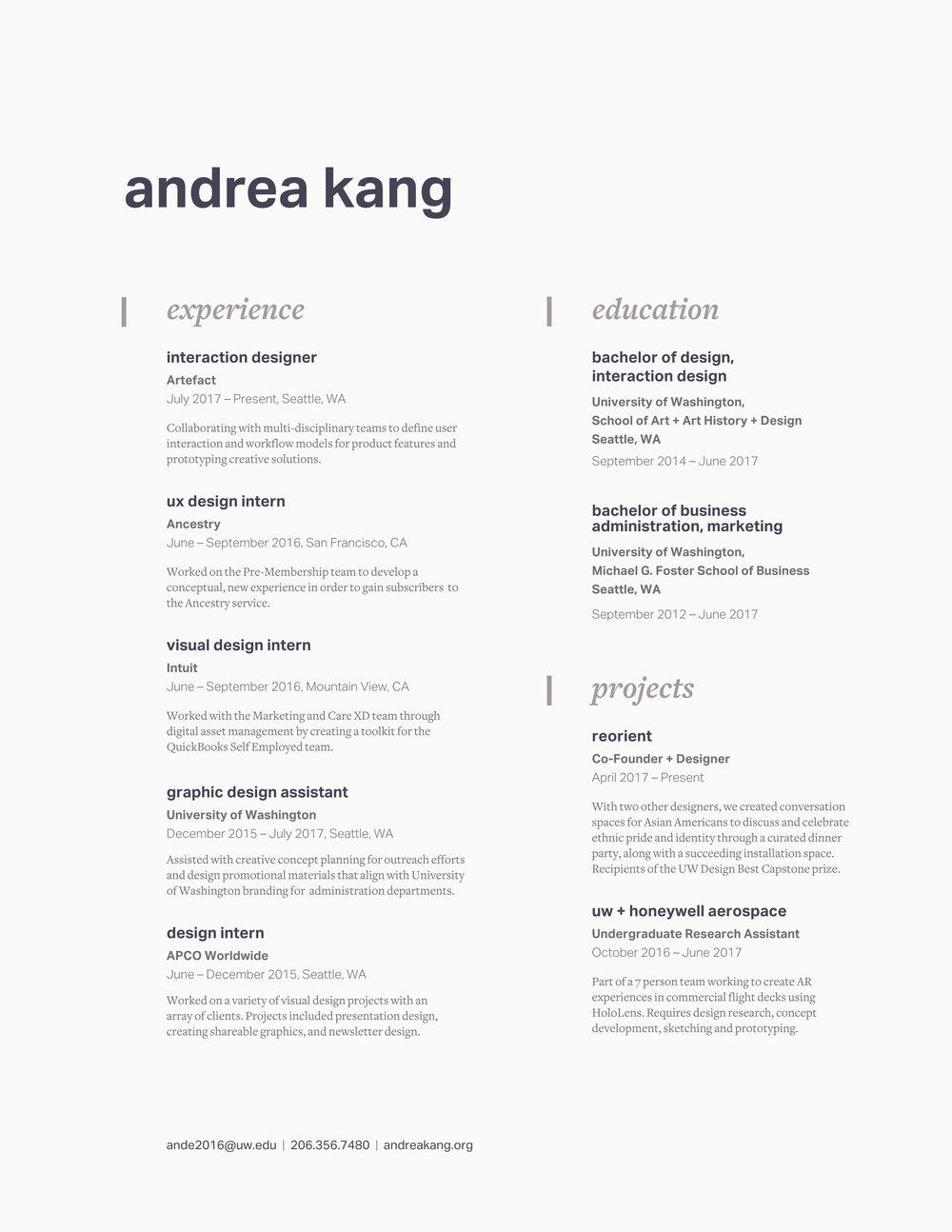 Resume Andrea Kang