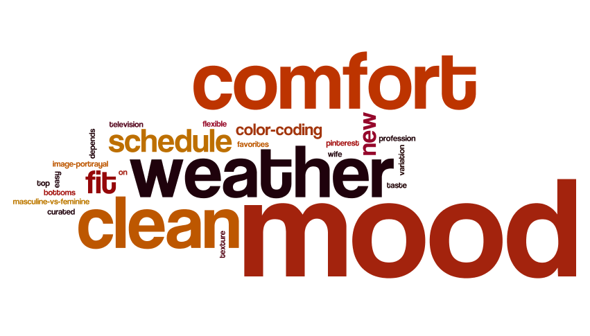 "Word Cloud - We created a word cloud based on client's responses to ""How do you choose your clothes?""  We noticed people's emotions play a huge factor in choosing clothes."
