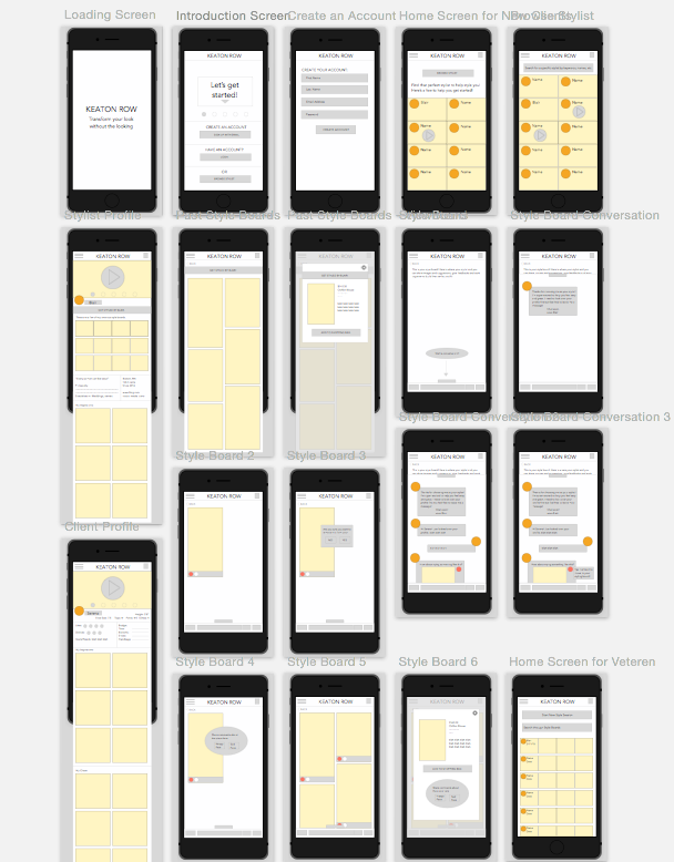 Digital Wireframes - We created digital wireframes as the quick skeleton for our design.  We figured out navigation issues before making the mock-up.