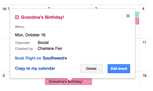 Linked   - Showing the integration into the social calendar for travel planning. Once I create an event, the option to book a flight when the contact's area code is different from my current one appears.