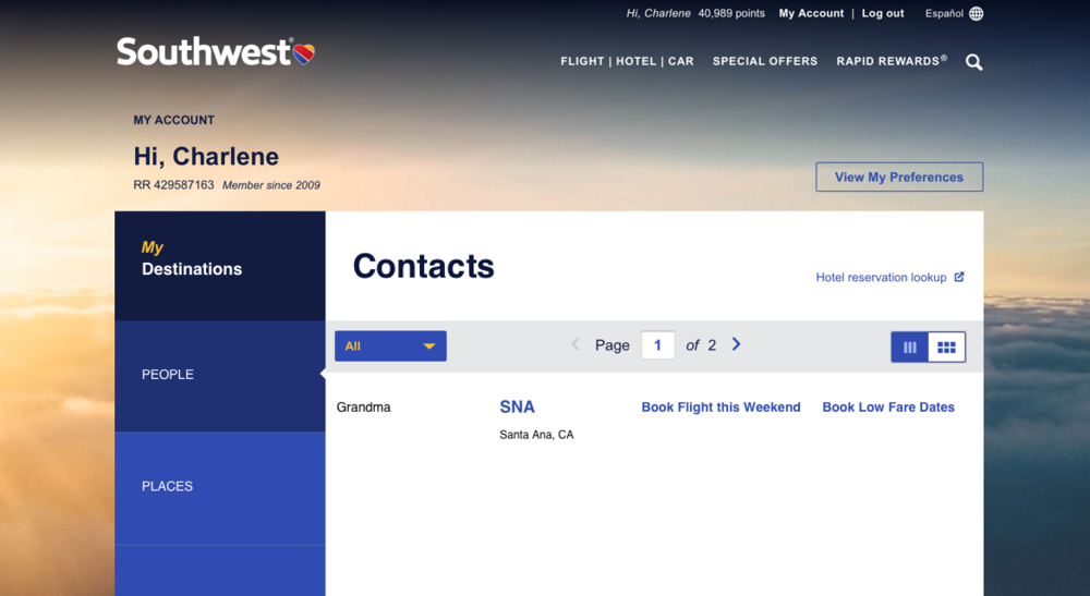 People  - Sometimes I have some extra travel points and like to use them quickly, but don't want to worry about hotel reservations or pay extra money on rooms. Searching by people, lets me pick who to stay with on my Southwest.com dashboard.