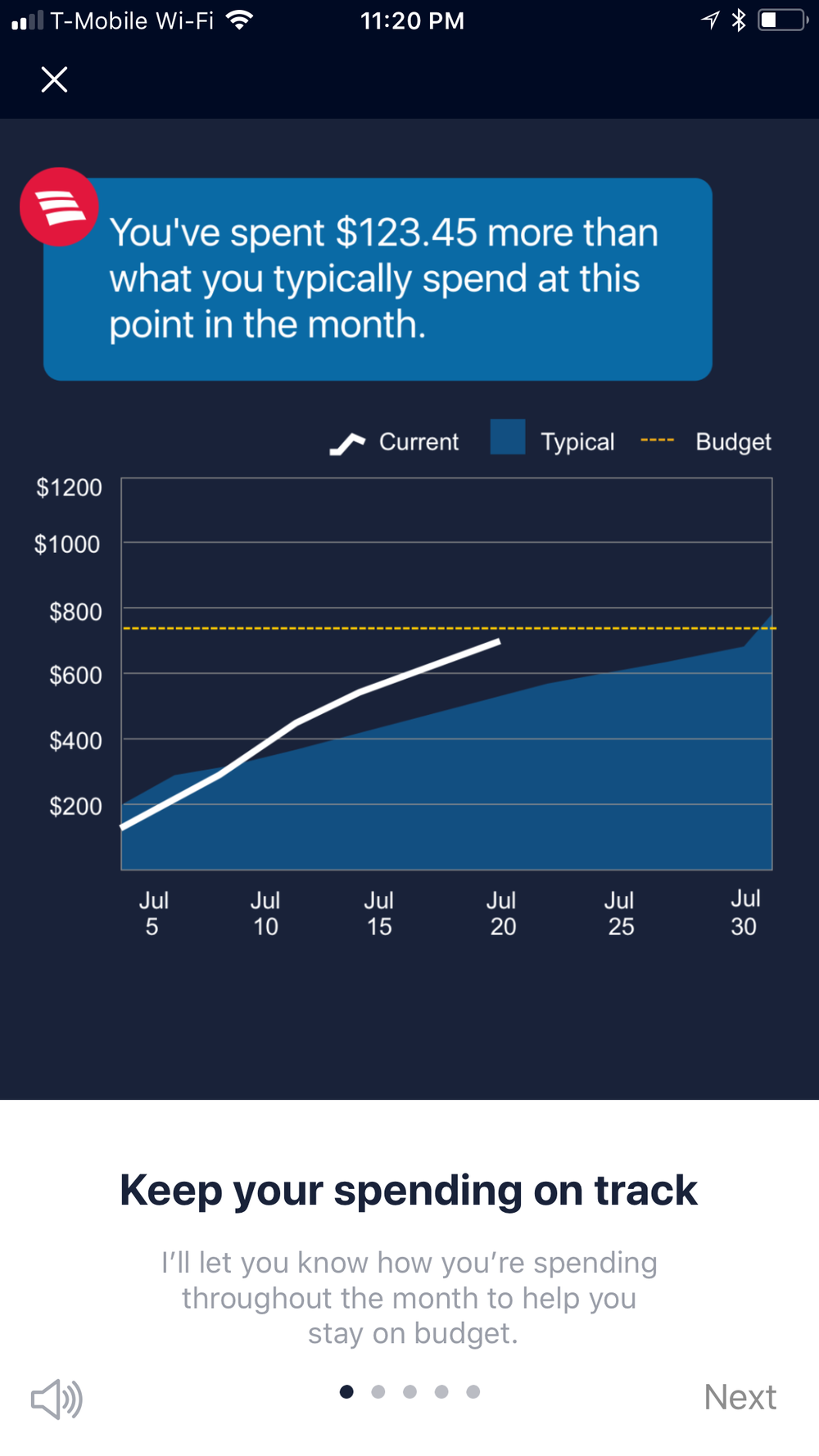 Onboarding   - Erica provides insights to help user keep track of spending.