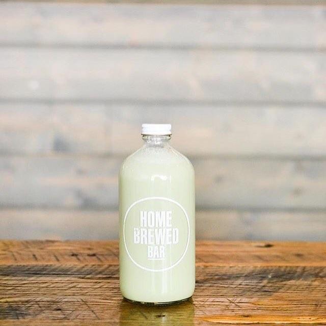 Mini Brewskie filled with Matcha Pistachio Milk Tea.  Have it at Home or take it home.  Happy Monday. . . . . #homebrewedbar#welcomehome#pasadena#coldbrew#coffee#coldbrewcoffee#tea#milktea#coffeeandtea#oldpas#coffeetime#coffeebreak#boba#onlyinoldpas#homesweethome#homeawayfromhome#summer#matcha#pistachio