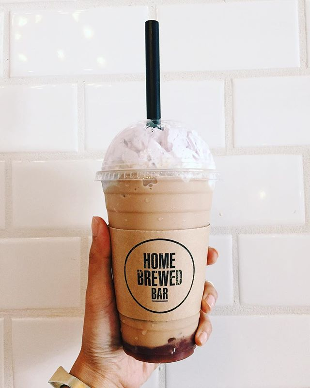 Sweet dreams of customized drinks.. 💭  An icy blended mix of Monks Blend Tea with house milk, Peanut Butter Chocolate flavor, enhanced with Red Bean and topped off with Taro Whipped Cream!! Soooo gooooood... #homebrewedbar #welcomehome#pasadena #coldbrew#coffee #coldbrewcoffee #tea #milktea#coffeeandtea #oldpas#coffeetime #coffeebreak #boba#onlyinoldpas#homesweethome#homeawayfromhome#summer#cool#626