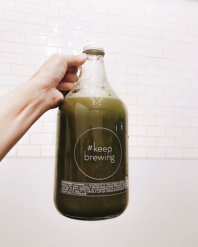 New Growlers are in! They're 64oz and just in time for your Holiday brews. 🍵 [📸: matcha cold brew tea] @artofteala #welcomehome #keepbrewing