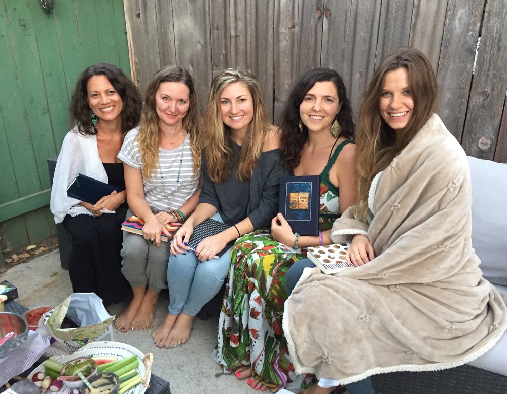 Just 5 of the 40 beautiful Souls who took part in the first ever 7 Week online group 7OM Journey of Illumination this past 7 weeks, convening in person for the first time in my garden in Ojai, with our magical private 7OM Journals.