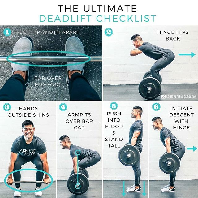 "Here are some deadlifting tips from @achievefitnessboston. Practice them and we will see you later at 5 and 6pm! - - THE ULTIMATE DEADLIFT CHECKLIST!! - - 1️⃣FEET HIP WIDTH APART AND BARBELL OVER MID-FOOT: In order to establish a strong base of support, start with your feet under your hips with toes forward or slightly flared out. Step up to the bar so that it's close to your shins and over your mid-foot. - 2️⃣HINGE YOUR HIPS BACK: Initiate the deadlift by sitting back with your hips. This will help you to load your posterior chain (glutes and hamstrings) and get into a strong starting position. - 3️⃣GRAB THE BAR JUST OUTSIDE YOUR SHINS: The wider your hands, the greater the demand on your mid and upper back. Keeping your hands in closer will help make the pull feel easier than if they were out too wide. - 4️⃣ALIGN YOUR ARMPITS DIRECTLY OVER THE BAR: This will set you up for a more vertical and direct bar path, which makes the deadlift much more efficient. - 5️⃣PUSH INTO THE FLOOR AND STAND TALL: Instead of thinking about ""lifting"" the bar off the floor, think about ""pushing"" your feet into the ground. The harder you push down into the floor, the stronger your deadlift will be. Stand tall at the top and look straight ahead to practice good alignment. - 6️⃣INITIATE THE DESCENT WITH ANOTHER HIP HINGE: Once you've gotten to the top of the deadlift, lower it back down by hinging your hips back, loading your posterior chain again, and getting right back into your original starting position. - We hope this checklist helps you out the next time you're going through a set of deadlifts! Share with a friend who would appreciate it. And until next time, peace, love, and muscles ✌️💙💪"