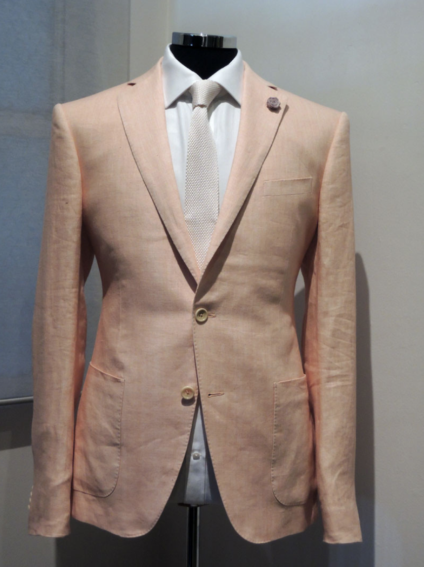 Peach Linen Blazer, Italian Linen from Gianfranco Fila, with Silk Knit Tie
