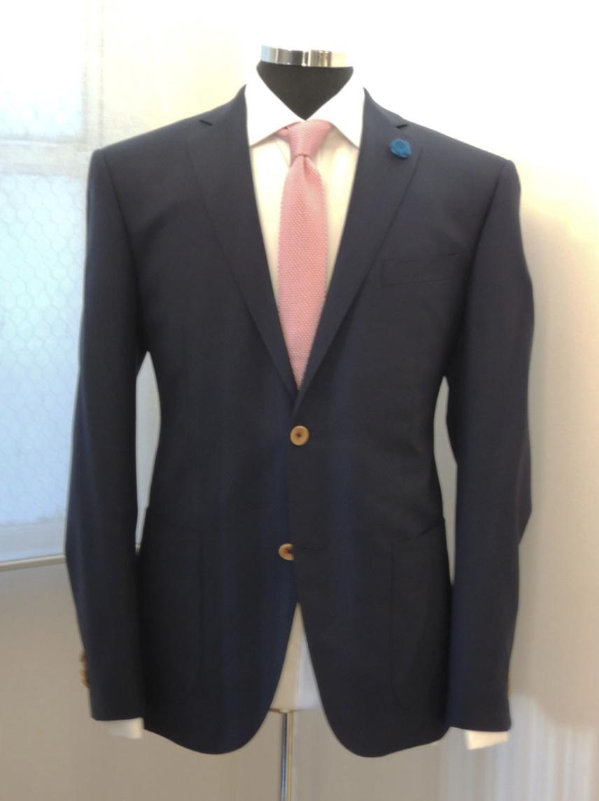Navy Blue Blazer, Super 100 from Huddersfield Cloth UK