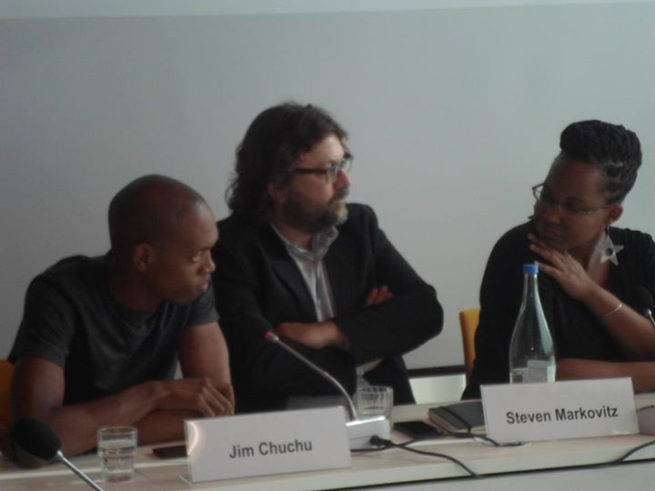Jim Chuchu, Steven Markovitz and Njoki Ngumi speaking at a discussion panel on the film at the Heinrich Boell Foundation.