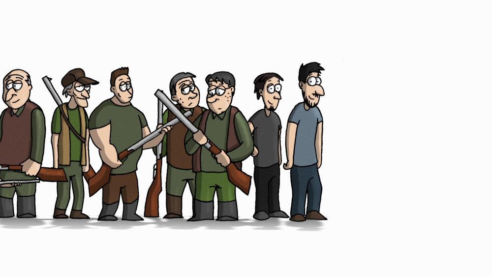20:00 PREMIÈRE À GENÈVE - UNO STRANO PROCESSOMarcel Barelli, Suisse, animation, 2018, 10' (vo it st fr)Prod: Nadasdy Film Sarl, RTSEn présence du réalisateur«J'ai toujours voulu faire un film sur la chasse… Enfin… contre la chasse! Mais ce n'est pas si évident quand on vient d'une famille de chasseurs…»Bande-annonce