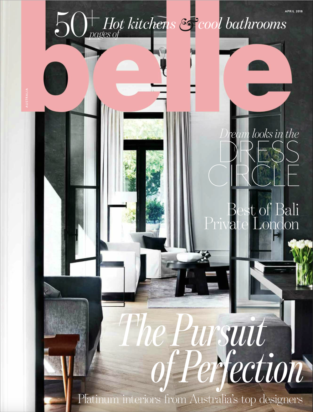 Belle Magazine April 2018 - Kitchen and Bathroom by Alexandra Kidd Design. Styling by Megan Morton.