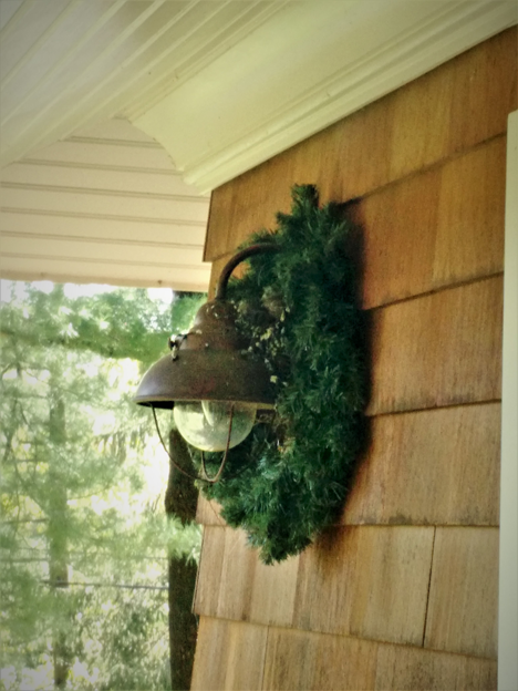 House Finches hiding in the wreath on top of the lamp