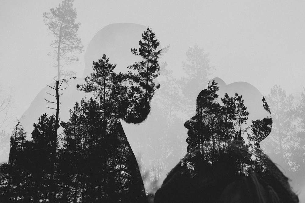 Double exposure of a bride and groom to be